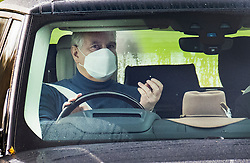 © Licensed to London News Pictures. 24/10/2020. Windsor, UK. Prince Andrew, Duke of York, is seen driving from his home at Windsor. A new book by author Barry Levine 'The Spider' makes claims and allegations relating to Prince Andrew and his dealings with convicted paedophile Jeffrey Epstein. Photo credit: Peter Macdiarmid/LNP