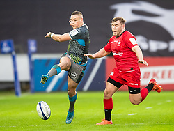 Hanno Dirksen of Ospreys kicks ahead<br /> <br /> Photographer Simon King/Replay Images<br /> <br /> European Rugby Champions Cup Round 5 - Ospreys v Saracens - Saturday 11th January 2020 - Liberty Stadium - Swansea<br /> <br /> World Copyright © Replay Images . All rights reserved. info@replayimages.co.uk - http://replayimages.co.uk