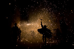 August 16, 2017 - Barcelona, Catalonia, Spain - Devils run amidst the pyrotechnics during the celebration of Sant Roc Festival in Barcelona. Correfocs, an old Catalan tradition where people dressed as devils blow up firecrackers and flares, take part every August in the celebrations for the Sant Roc Festival in the Gothic Quarter of Barcelona. (Credit Image: © Jordi Boixareu via ZUMA Wire)