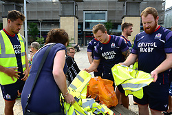 Bristol Rugby support Bristol City Council's Clean Streets campaign on Mandela Day by helping cleaning the streets at Millennium Square - Mandatory by-line: Dougie Allward/JMP - 18/07/2017 - FOOTBALL - Millennium Square - Bristol, England - Mandella Day Bristol Rugby