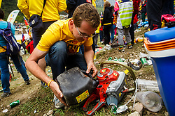 Fan with chain saw during MXGP Trentino race two, round 5 for MXGP Championship in Pietramurata, Italy on 16th of April, 2017 in Italy. Photo by Grega Valancic / Sportida