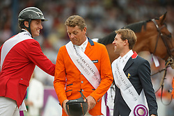 iIndividual podium, Wathelet Gregory, (BEL), Dubbeldam Jeroen, (NED), Delestre Simon, (FRA)<br /> Individual Final Competition round 2<br /> FEI European Championships - Aachen 2015<br /> © Hippo Foto - Dirk Caremans<br /> 23/08/15