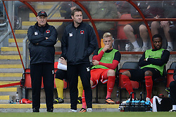 Leyton Orient's manager Russell Slade and his assistant Kevin Nuggent   - Photo mandatory by-line: Mitchell Gunn/JMP - Tel: Mobile: 07966 386802 29/09/2013 - SPORT - FOOTBALL -  Matchroom Stadium - London - Leyton Orient v Walsall - Sky Bet League One