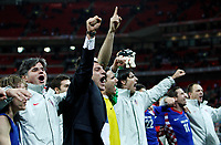 Photo: Richard Lane/Sportsbeat Images.<br />England v Croatia. UEFA European Championships Qualifying. 21/11/2007. <br />Croatia's manager, Slaven Bilic (c) and his team celebrate victory.
