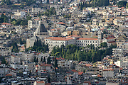 Israel, Lower Galilee, cityscape of Nazareth. Basilica of the Annunciation in the centre