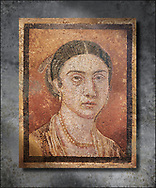 Roman Mosaic portrait of a women from Pompei Archaeological Site. Naples Archaeological Museum inv 124666.  Wall art print by Photographer Paul E Williams If you prefer visit our World Gallery Print Shop To buy a selection of our prints and framed prints desptached  with a 30-day money-back guarantee and is dispatched from 16 high quality photo art printers based around the world. ( not all photos in this archive are available in this shop) https://funkystock.photoshelter.com/p/world-print-gallery<br /> <br /> USEFUL LINKS:<br /> Visit our other HISTORIC AND ANCIENT ART COLLECTIONS for more photos to buy as wall art prints  https://funkystock.photoshelter.com/gallery-collection/Ancient-Historic-Art-Photo-Wall-Art-Prints-by-Photographer-Paul-E-Williams/C00002uapXzaCx7Y