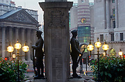 Two soldiers of the WW1 war memorial at Cornhill, with the pillars of Mansion House on the left, in a 1990s City of London aka The Square Mile, the capitals financial centre, on 21st June 1997, in London, England.