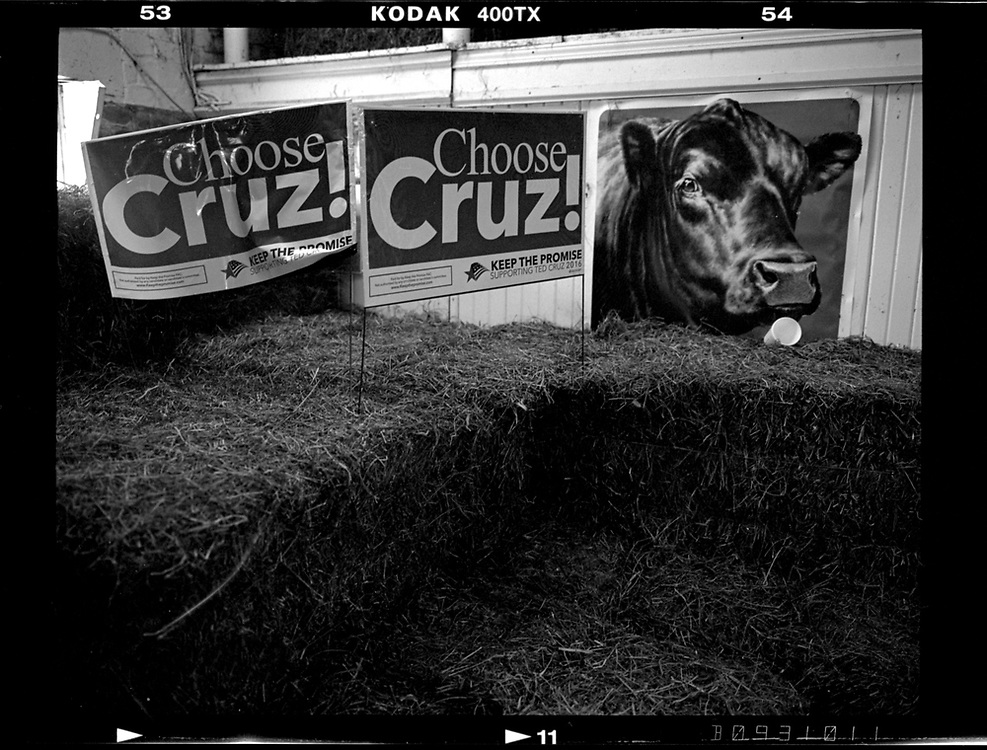 Signs are seen at a campaign event for U.S. Republican presidential candidate Ted Cruz in Osceola, Iowa, United States, January 26, 2016.