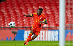LONDON, ENGLAND - Thursday, October 8, 2020: Wales' Rabbi Matondo sees his shot hit the post during the International Friendly match between England and Wales at Wembley Stadium. The game was played behind closed doors due to the UK Government's social distancing laws prohibiting supporters from attending events inside stadiums as a result of the Coronavirus Pandemic. England won 3-0. (Pic by David Rawcliffe/Propaganda)
