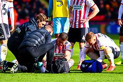 An injured Jack O'Connell of Sheffield United receives treatment - Mandatory by-line: Ryan Crockett/JMP - 09/03/2019 - FOOTBALL - Bramall Lane - Sheffield, England - Sheffield United v Rotherham United - Sky Bet Championship
