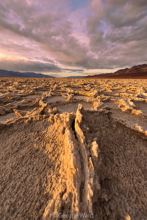 Badwater Playa at Sunset, Death Valley National Park, California
