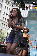 Solange Knowles performs at The 2008 J &R Downtown Music Festival Launch at City Hall Park on August 21, 2008 in New York City