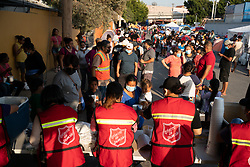 A group from the Salvation Army feed hundreds of people in an informal camp of asylum seekers twice a week in Tijuana, Mexico. They also run refuges, including a refuge just for women and children in Tijuana and other areas of the country, to support migrants and asylum seekers.