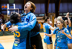 Laura Kamdop of RK Krim Mercator and Sergeja Stefanisin of RK Krim Mercator celebrate after the handball match between RK Krim Mercator and ZRK Z'Dezele Celje in Last Round of Slovenian National Championship 2016/17, on April 18, 2017 in Arena Galjevica, Ljubljana, Slovenia. Photo by Vid Ponikvar / Sportida