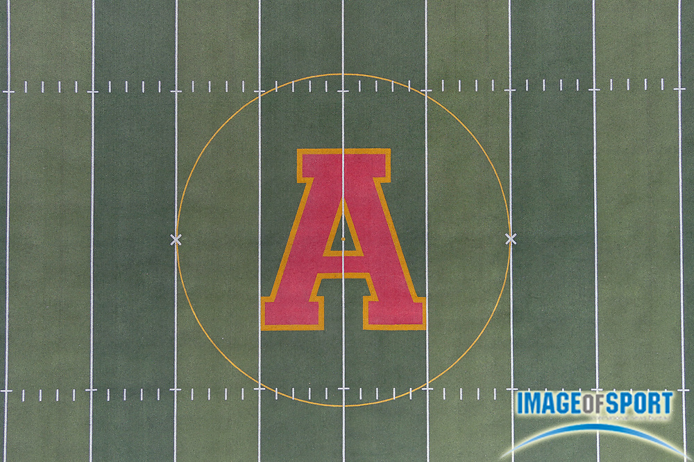 General overall aerial view of the Arcadia logo at midfield field of Salter Stadium at Arcadia High School, the site of the annual Arcadia Invitational track and field meet, Sunday, Sept. 20, 2020, in Arcadia, Calif. The Arcadia Invitational has produced 32 national records and 179 U.S. Olympians since the meet's inception in 1968. It is the largest outdoor high school meet in the United States, with more than 4,000 high school athletes competing largest high school sporting event in the nation that is hosted on a high school campus.