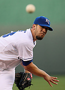 Kansas City Royals pitcher James Shields (33) warms up on the mound before the first inning against the Tampa Bay Rays at Kauffman Stadium in Kansas City, Mo., Tuesday, April 30, 2013.  (AP Photo/Colin E. Braley).