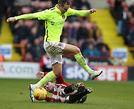 John Fleck of Sheffield Utd  tackles Matthew Taylor of Northampton during the English League One match at Bramall Lane Stadium, Sheffield. Picture date: December 31st, 2016. Pic Simon Bellis/Sportimage