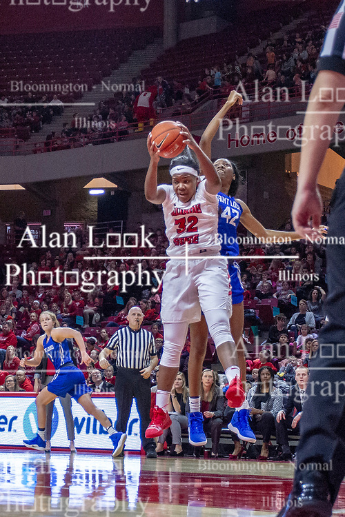 NORMAL, IL - December 20: Simone Goods grabs a rebound also desired by Brooke Flowers during a college women's basketball game between the ISU Redbirds and the St. Louis Billikens on December 20 2018 at Redbird Arena in Normal, IL. (Photo by Alan Look)