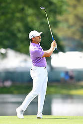 May 4, 2019 - Charlotte, NC, U.S. - CHARLOTTE, NC - MAY 04: Sergio Garcia watches the ball after shooting for the green on hole 14 in round three of the Wells Fargo Championship on May 04, 2019 at Quail Hollow Club in Charlotte,NC. (Photo by Dannie Walls/Icon Sportswire) (Credit Image: © Dannie Walls/Icon SMI via ZUMA Press)