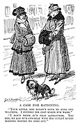 """A Case for Rationing. """"Your little dog doesn't seem to mind the weather. I suppose his coat keeps him warm."""" """"I don't think it's that altogether. You see, he has rum-and-milk with his cutlet every morning before he goes out."""""""