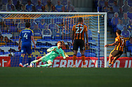 GOAL 0-3, penalty, Hull City attacker Mallik Wilks (7) during the EFL Sky Bet League 1 match between AFC Wimbledon and Hull City at Plough Lane, London, United Kingdom on 27 February 2021.