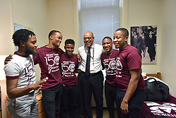 Aretha Franklin Died at 76 on August 16, 2018 - Morehouse President David Thomas shares a laugh with Wendell Shelby-Wallace (left), V.P. of Student Government Association, and RAs (from second from left) Marcus Washington, MarKuan Tigney Jr., David Jeffries and Kayden Molock after he moved into his room at historic Graves Hall in Morehouse College on Tuesday, August 7, 2018. Thomas was accepted to Morehouse College as a high school senior, but his working class family could not afford the price of tuition. He went to Yale on scholarship instead but he never forgot the disappointment he felt not being able to attend his dream college. David Thomas moved into a dormitory Tuesday for two days, his way of launching a historic capital campaign to raise money for student scholarship so other deserving students will not be shut of a Morehouse education because they can't afford tuition. Photo by Hyosub Shin/Atlanta Journal-Constition/TNS/ABACAPRESS.COM