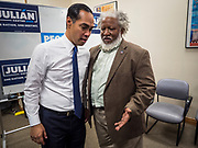 17 OCOTBER 2019 - DES MOINES, IOWA: JULIÁN CASTRO, former Secretary of Housing and Urban Development for President Barack Obama, talks to a person about criminal justice reform after speaking at Urban Dreams, a human services agency for under served communities in Des Moines. Castro is visiting Iowa to support his bid to be the Democratic nominee for the US Presidency. Iowa traditionally hosts the the first selection event of the presidential election cycle. The Iowa Caucuses will be on Feb. 3, 2020.                 PHOTO BY JACK KURTZ
