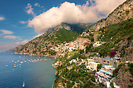 The fashionable  resort of Positano, Amalfi coast, Italy .<br /> <br /> Visit our ITALY HISTORIC PLACES PHOTO COLLECTION for more   photos of Italy to download or buy as prints https://funkystock.photoshelter.com/gallery-collection/2b-Pictures-Images-of-Italy-Photos-of-Italian-Historic-Landmark-Sites/C0000qxA2zGFjd_k