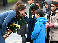 The Duchess of Cambridge arrives at Roe Green Junior School where she met with pupils and teachers, and took part in a lesson designed to help support a child's mental health and well-being, Edgware, London. Picture credit should read: Doug Peters/EMPICS Entertainment