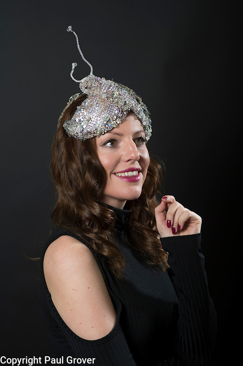 Milliner Natalie Ellner pictured in her studio wearing one of her creations Diamond Moth a headpiece one 1 of 11 that she is providing to dress each set of guests with spectacular animal masks and headgear at the Animal Ball 2016 on November 22nd, the world's greatest fashion houses will collaborate to dress a bestiary of beautiful creatures from all corners of British society to celebrate and protect nature's greatest masterpieces