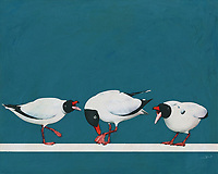 What seems to be the trouble with these three Black Seagulls? This fine art piece by celebrated artist Jan Keteleer provides us with an interesting snapshot of three such birds, in the midst of what appears to be a rather serious argument. This piece brings to mind everything you probably love about going to the ocean for the weekend. -<br />