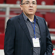 Anadolu Efes's manager Engin OZERHUN during their Two Nations Cup basketball match Anadolu Efes between Olympiacos at Abdi Ipekci Arena in Istanbul Turkey on Sunday 02 October 2011. Photo by TURKPIX