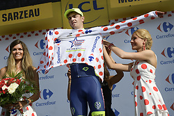 July 10, 2018 - Sarzeau, FRANCE - New Zealand's Dion Smith of Wanty-Groupe Gobert celebrates on the podium in the red polka-dot jersey for best climber after the fourth stage of the 105th edition of the Tour de France cycling race, from La Baule to Sarzeau (195km), in France, Tuesday 10 July 2018. This year's Tour de France takes place from July 7th to July 29th. BELGA PHOTO YORICK JANSENS - FRANCE OUT (Credit Image: © Yorick Jansens/Belga via ZUMA Press)