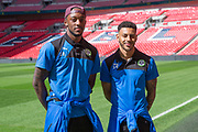 Forest Green Rovers Shamir Mullings(18) and Forest Green Rovers Kaiyne Woolery(14) on the Wembley Stadium familiarisation trip during the Vanarama National League Play Off Final match between Tranmere Rovers and Forest Green Rovers at Wembley Stadium, London, England on 14 May 2017. Photo by Shane Healey.