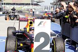 Second placed Max Verstappen (NLD) Red Bull Racing in parc ferme as race winner and team mate Daniel Ricciardo (AUS) Red Bull Racing RB12 arrives.<br /> 02.10.2016. Formula 1 World Championship, Rd 16, Malaysian Grand Prix, Sepang, Malaysia, Sunday.<br />  Copyright: Bearne / XPB Images / action press