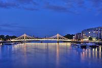 Albert Bridge over the River Thames at night, Chelsea, London