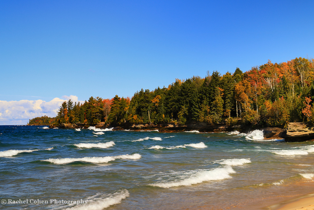"""""""Great Lakes Autumn Waves""""<br /> <br /> Wonderful waves coming ashore on Lake Superior in Michigan's Upper Peninsula! Beautiful fall color is seen on the rocky shore also!"""