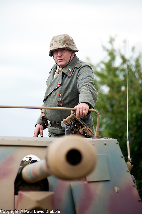 Reenactors portray panzer grenadiers from the 21st Panzer Division during he Spam 1940s Wartime Weekend Heckmondwike day one.<br /> July 2011<br /> © Paul David Drabble