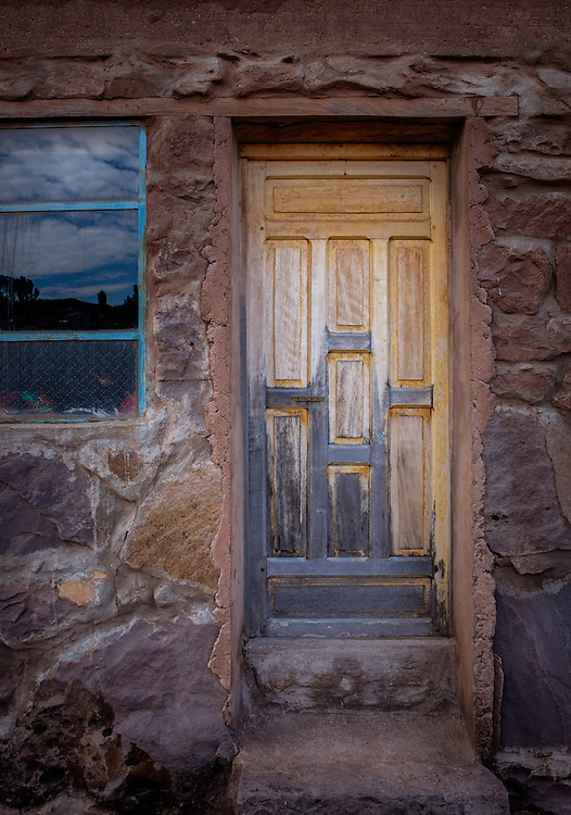 TAQUILE, PERU - CIRCA OCTOBER 2015:  Typical door in the Island of Taquile in Lake Titicaca.