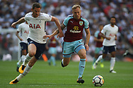 Scott Arfield of Burnley (R) holds off Jan Vertonghen of Tottenham Hotspur (L). Premier league match, Tottenham Hotspur v Burnley at Wembley Stadium in London on Sunday 27th August 2017.<br /> pic by Steffan Bowen, Andrew Orchard sports photography.