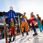 Tanner Flannagan and Bob Killmain skied the Gaper Day celebration at Jackson Hole Mountain Resort on stilts.