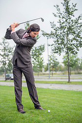 Business man goal golf club decision Determination