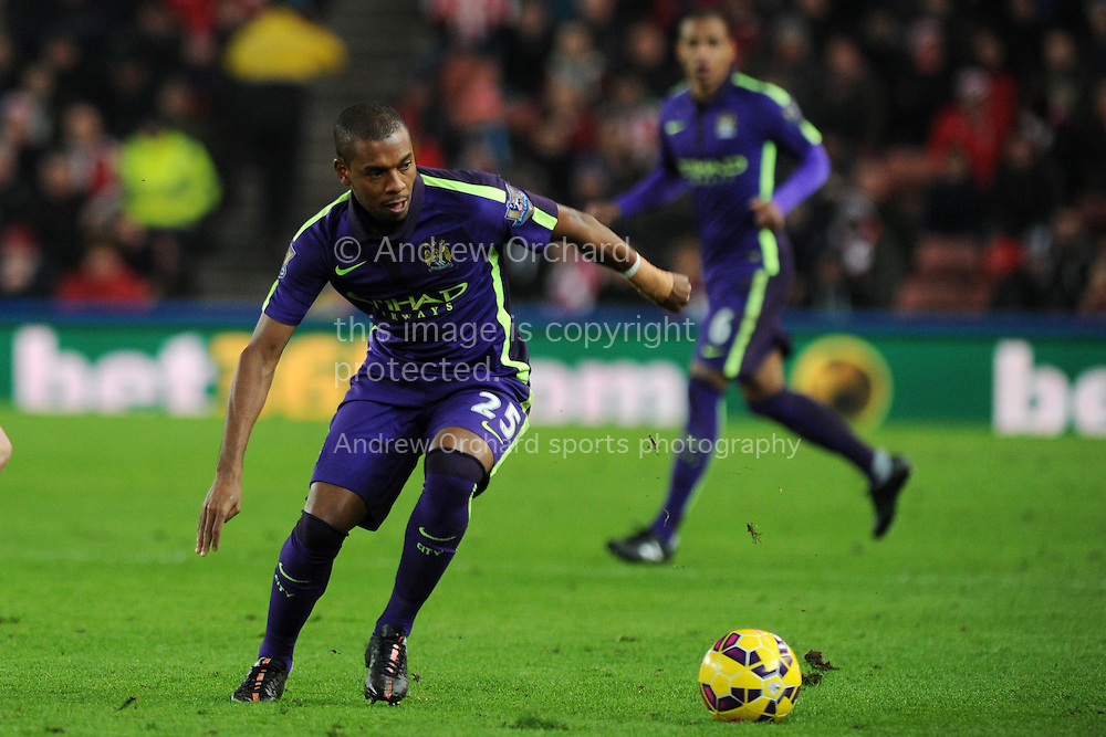 Fernandinho of Manchester city in action. Barclays Premier League match, Stoke city v Manchester city at the Britannia Stadium in Stoke on Trent , Staffs on Wed 11th Feb 2015.<br /> pic by Andrew Orchard, Andrew Orchard sports photography.