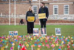 "© Licensed to London News Pictures. 25/01/2020. Bristol, UK. Anyone's Child: Families for Safer Drug Control campaign; ""Take drugs seriously"" event at Bristol's College Green, planting 'forget-me-not' flowers to remember those who have died as a result of what the campaign says are dangerous drug policies in the UK. The event is in remembrance for the 4000 plus people that die every year in the UK from the effects of drugs. One in three of all drug related deaths in Europe now happen in the UK. Anyone's Child is a campaign by Transform Drug Policy Foundation to end the war on drugs, better protect children, and get drugs under control. Anyone's Child: Families for Safer Drug Control is an international network of families whose lives have been wrecked by current drug laws and are now campaigning to change them. They are now calling for governments to be honest and base drug policy on reality, not fear, which they say means regulating drugs to reduce the risks they pose. Photo credit: Simon Chapman/LNP."