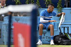 June 23, 2018 - London, England, United Kingdom - Nick Kyrgios of Australia enters the pitch as he plays against Marin Cilic of Croatia the semi final singles match on day six of Fever Tree Championships at Queen's Club, London on June 23, 2018. (Credit Image: © Alberto Pezzali/NurPhoto via ZUMA Press)