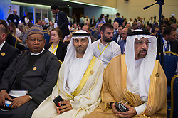 OPEC Secretary General Mohammed Barkindo, UAE Energy Minister Suhail al-Mazrouei , Khalid Al-Falih, Saudi Energy and Oil Minister and Chairman of OPEC's Joint Ministerial Monitoring Committee (JMMC) during 10th OPEC and non-OPEC Joint Ministerial Monitoring Committee (JMMC) in Algiers, Algeria on September 23, 2018. Photo by Louiza Ammi/ABACAPRESS.COM