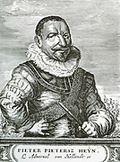 Pieter Pietersen Heyn (1577-1629) was a Dutch Naval officer and folk hero during the Eighty Years'  War between the United Provinces and Spain.   He became a sailor while still a teenager and served as a galley-slave for four years when he was traded for Spanish prisoners.  In 1607 he joined the Dutch East India Company and left for Asia, returning with the rank of captain.  He married and settled in Rotterdam.  In 1623 he became a vice-admiral and sailed to the West Indies the following year.   In Brazil, he briefly captured the Portuguese settlement of Salvador, personally leading the assault on the sea fortress and town.  Heyn is today often called a pirate, though he was a privateer as the Republic was at war with the Habsburgs and this was what would make Heyn most famous.