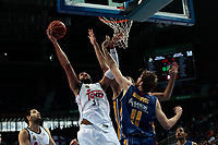 SPAIN, Madrid: Real Madrid's Greek player Ioannis Bourousis and Ucam Murcia´s Montenegrin player Nemanja Radovic during the Liga Endesa Basket 2014/15 match between Real Madrid and Ucam Murcia, at Palacio de los Deportes in Madrid on November 16, 2014.