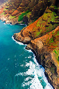 The Na Pali Coast (aerial), Napali Coast Wilderness State Park, Kauai, Hawaii USA