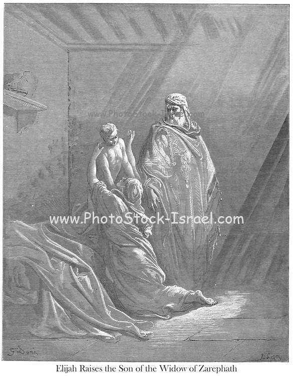 Elijah Raises the Son of the Widow of Zarephath 1 Kings 17:22-23 From the book 'Bible Gallery' Illustrated by Gustave Dore with Memoir of Dore and Descriptive Letter-press by Talbot W. Chambers D.D. Published by Cassell & Company Limited in London and simultaneously by Mame in Tours, France in 1866